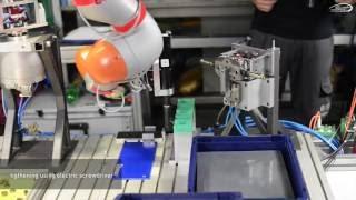 SMErobotics D6 (Teaser for) Hydraulic valve assembly using sensitive compliant lightweight robots
