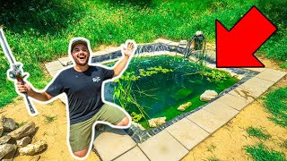 Fishing My TINY BACKYARD POND for the FIRST TIME!!!