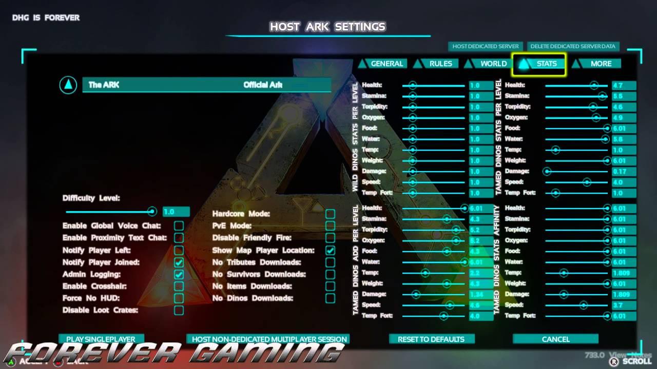 ARK: Survival Evolved [Host Ark Settings Explained]