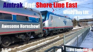 HD 60 FPS: Amtrak & SLE Train Spotting @ The Old Saybrook Station #19 (W/ AWESOME SAAHC)