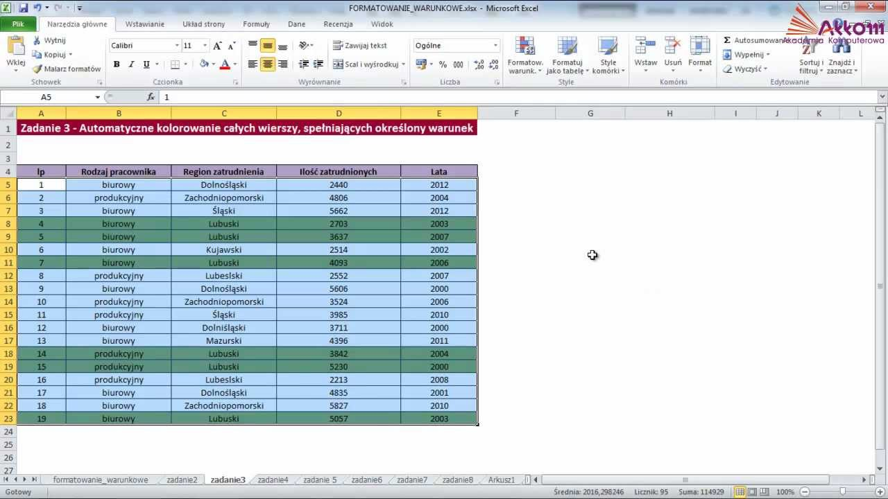 Importowanie danych do Excela