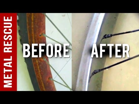 How to remove rust from a chrome bicycle rim or bike rim. NO ACIDS