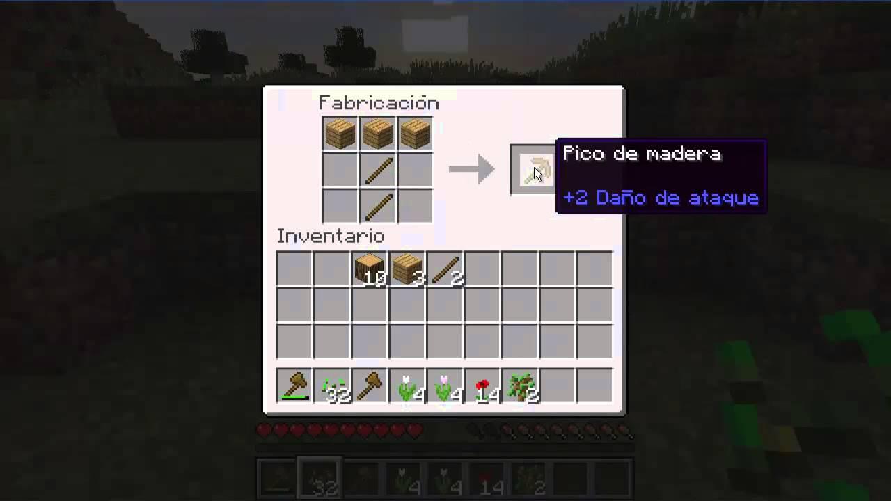 Como hacer un pico empezando minecraft youtube for Como hacer muebles en minecraft