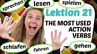 GERMAN LESSON 21: 10 MOST USED GERMAN ACTION VERBS (PARODY!) 🚴📒 🏃