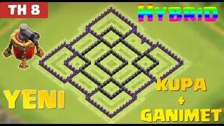 Clash of Clans - 8.Seviye Köy Düzeni Savunma (CoC TH8) En İyi HYBRID Düzeni [GANIMET+KUPA]
