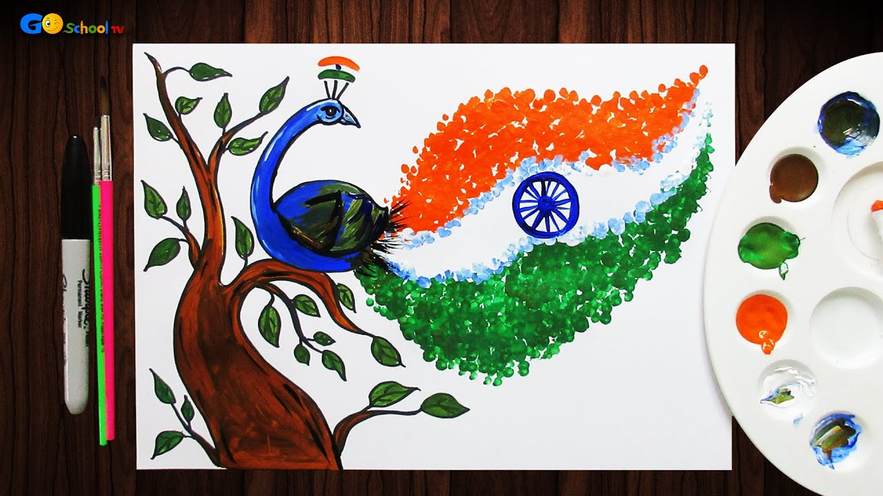 Drawing Of Peacock With Flag Republic Day Drawing Competition Ideas For School Students Youtube