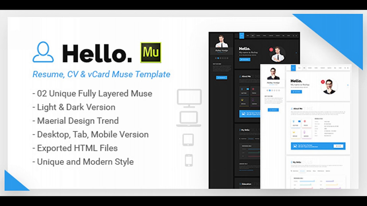 Hello Resume CV VCard Portfolio Muse Template Themeforest - Adobe muse website templates