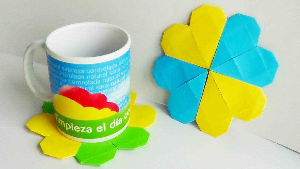 Coraz n posavasos de papel origami modular viyoutube - Como hacer posavasos ...