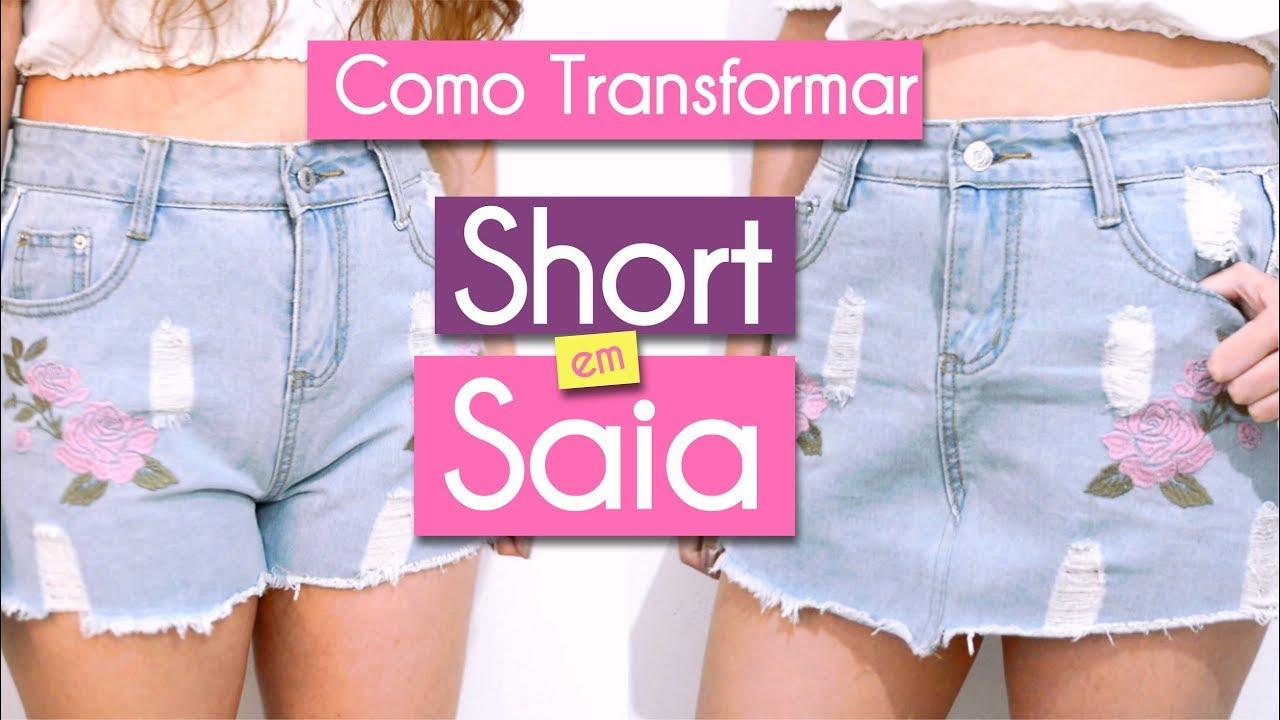 75c6e1bcfe Como transformar short jeans em uma saia - Fácil e rápido! - YouTube