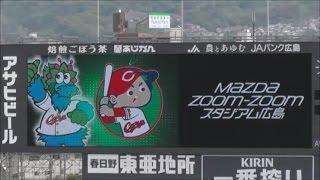 スタジアムで流れる、セ・リーグ6球団のスローガンの映像です。
