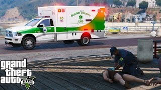 GTA 5 Play As A Paramedic Mod Day 33 | Blaine County EMS Ambulance Provides Mutual Aid To Los Santos