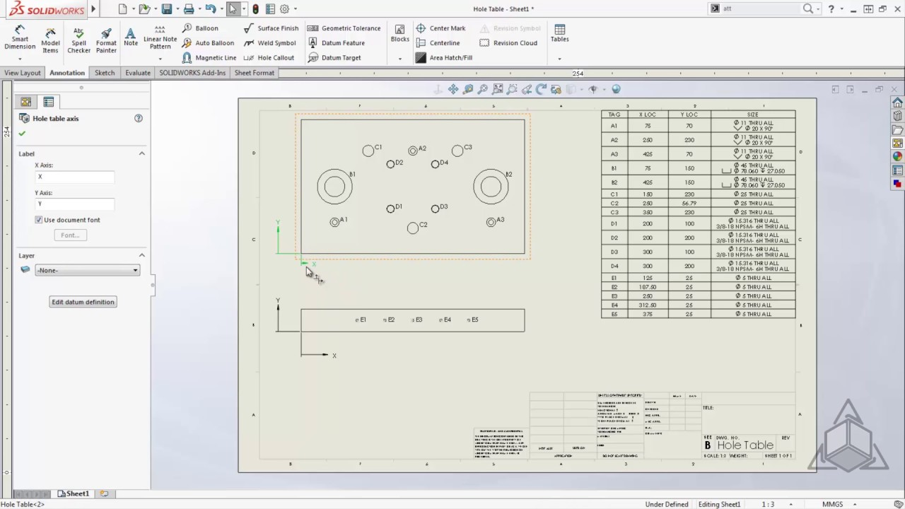 Tech Tip Solidworks Hole Table Youtube