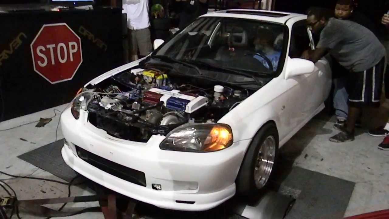 B series Turbo EK Civic Dyno 600hp - YouTube