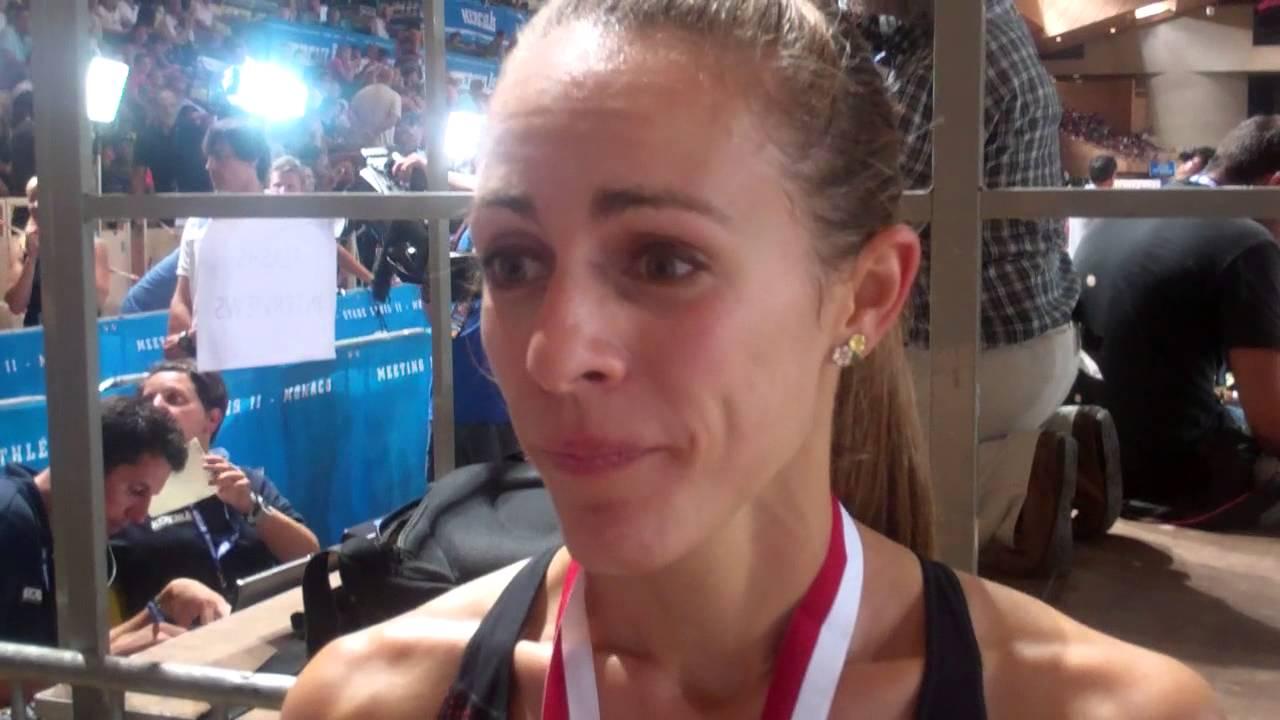 Jenny Simpson After Her 1500m Win in Monaco 2013 Herculis