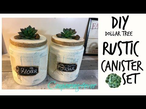 Dollar Tree DIY   RUSTIC CANISTER SET
