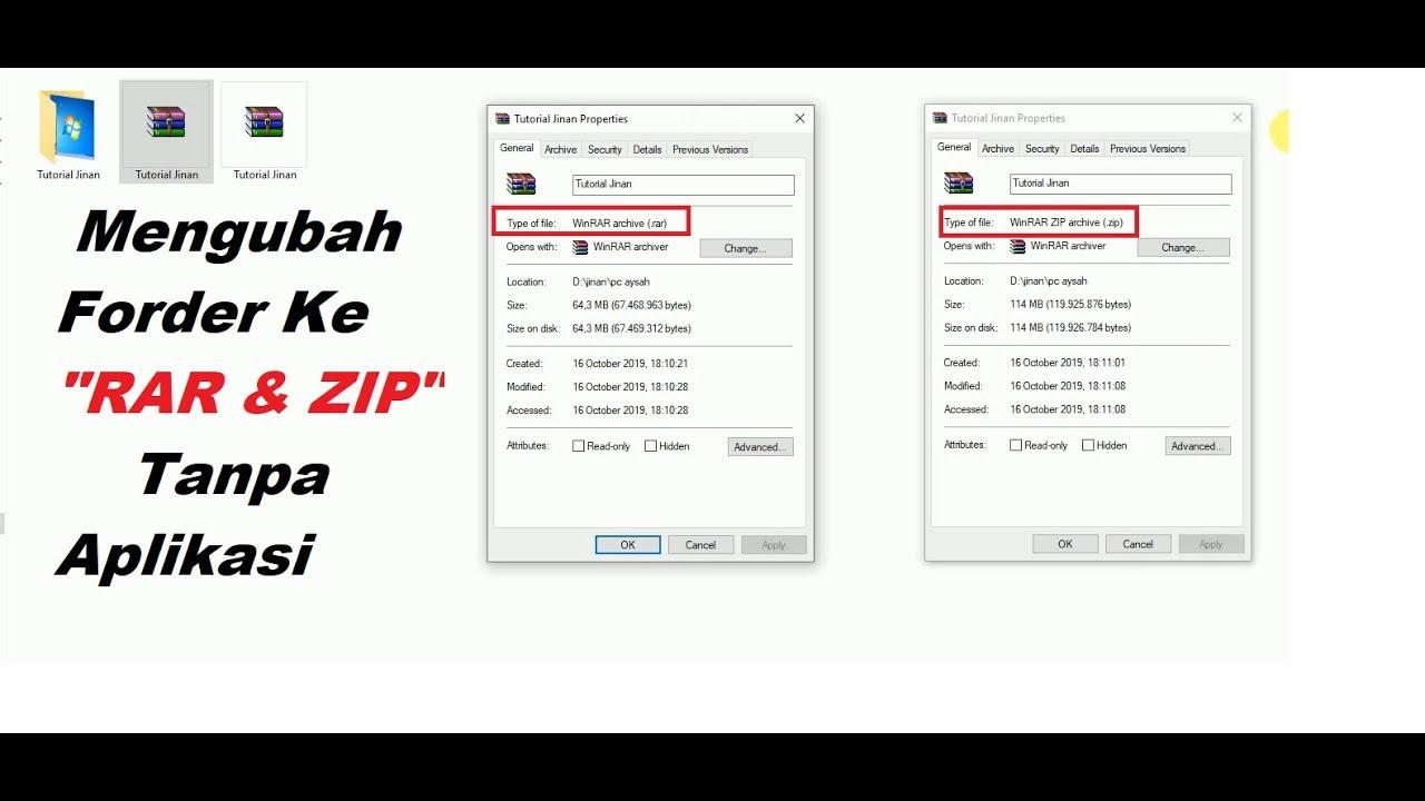 Cepat Cara Mengubah File Folder Menjadi Rar Zip Tanpa Aplikasi Tutorial Jinan Youtube