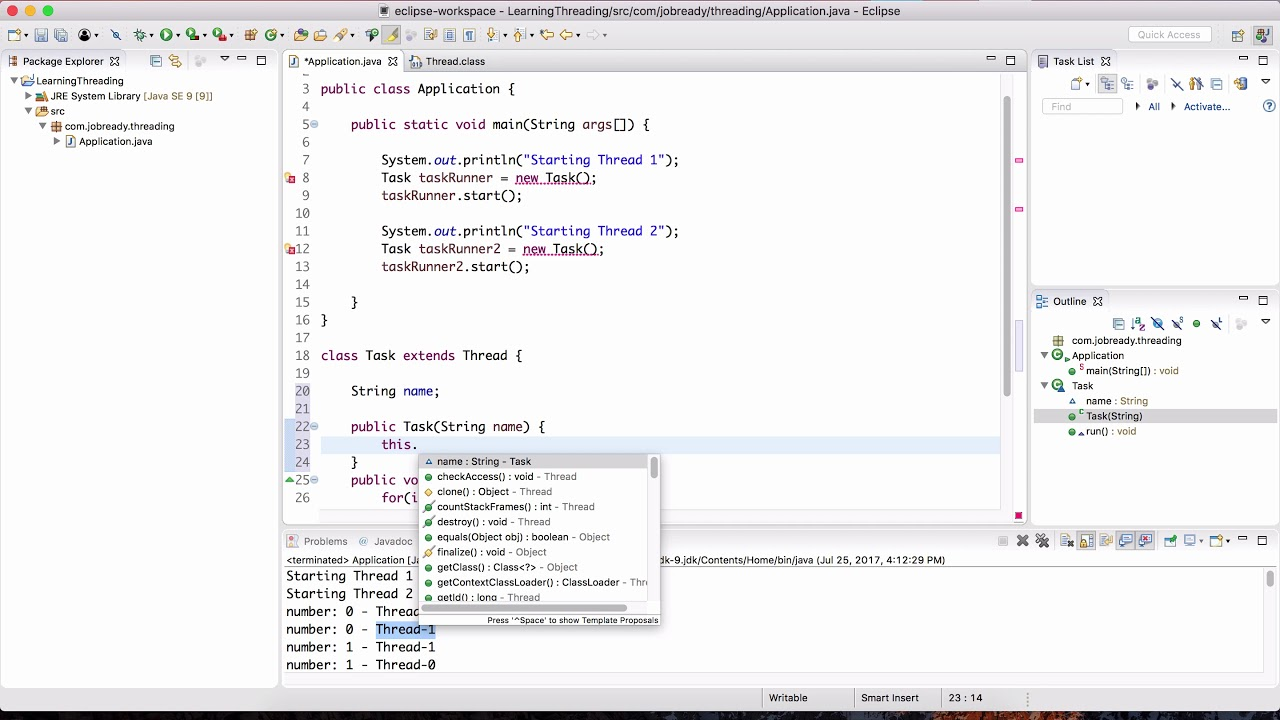 Multithreading in Java - Part 2 (Starting Threads and Runnable Interface)