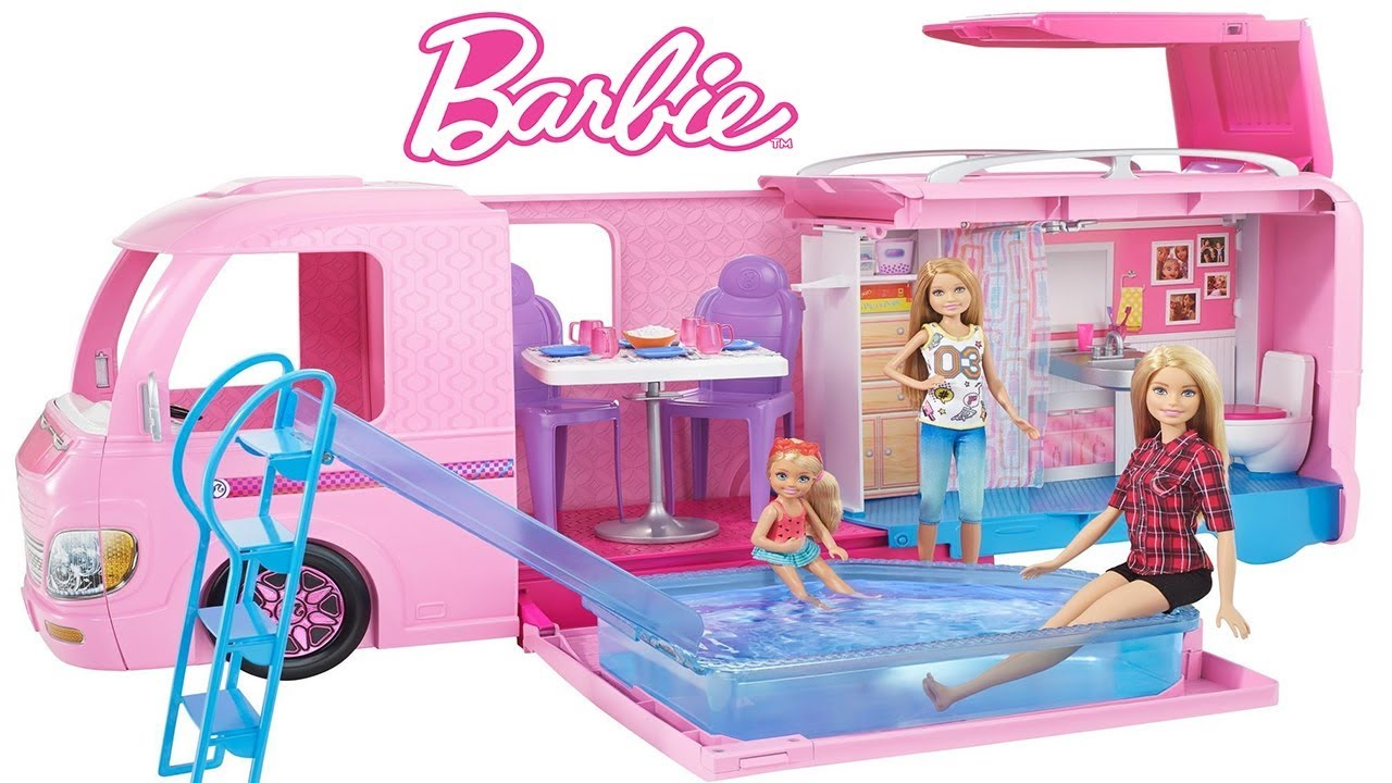 Barbie dream camper sent by mattel dollhouse pool dreamcamper barbie life in the dream for Barbie doll house with swimming pool