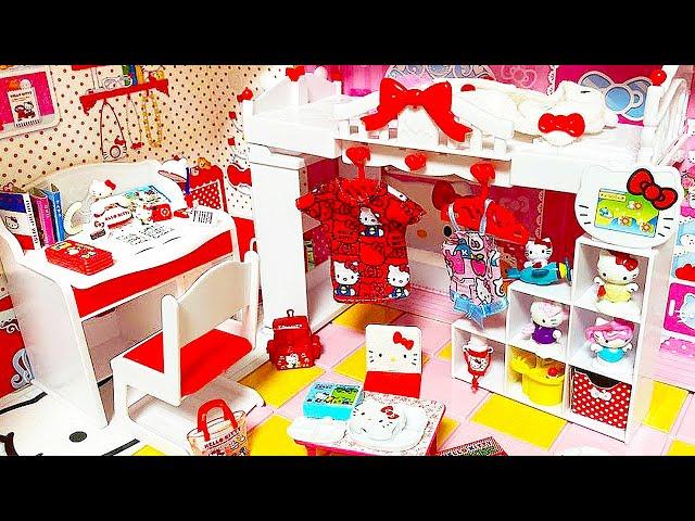 DIY Miniature Hello Kitty Doll house   Re-Ment  School Supplies 미니어처 인형 하우스 집 꾸미기 학용품 만들기   BoramiTV