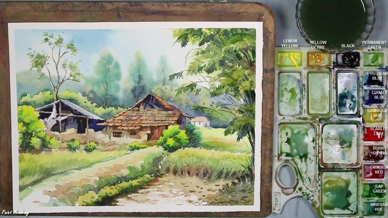 Watercolor painting village landscape step by step for Watercolor painting step by step