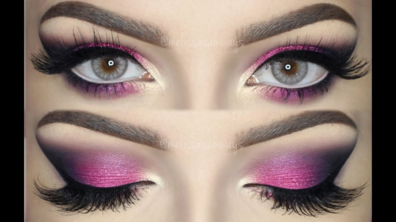 pink violet and black smokey eye bright amp colorful