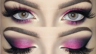 pink violet and black smokey eye   bright colorful makeup tutorial english