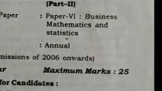 business mathematics and statistics b.com 2nd year question paper