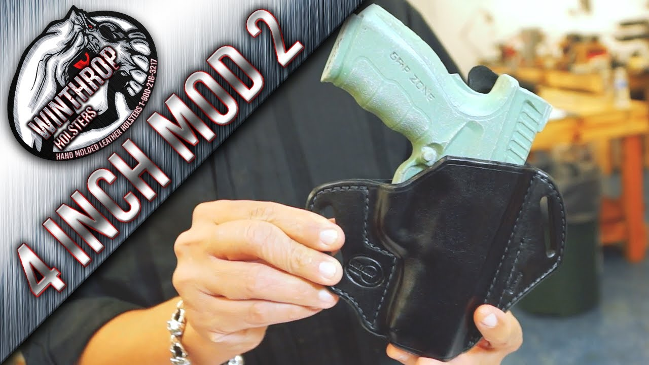 Springfield XD Mod 2 4 inch barrel OWB Black Leather Holster By:  WinthropHolsters com