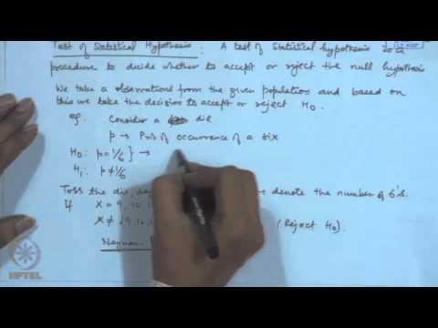 Mod-21 Lec-21 Testing of Hypotheses : Basic Concepts