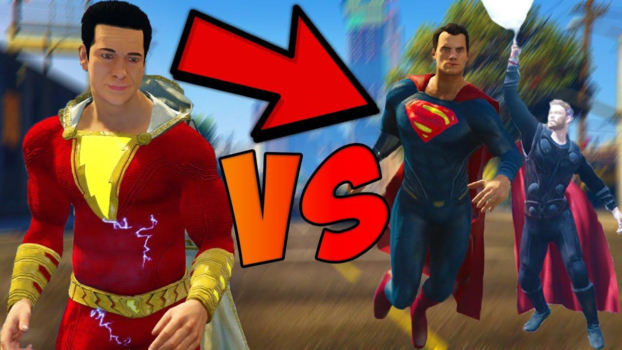 Download SHAZAM VS SUPERMAN AND THOR GTA 5 INSANE FIGHT! | gta 5 mods