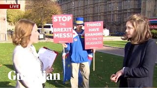 Anti-Brexit protester repeatedly crashes live BBC news interviews