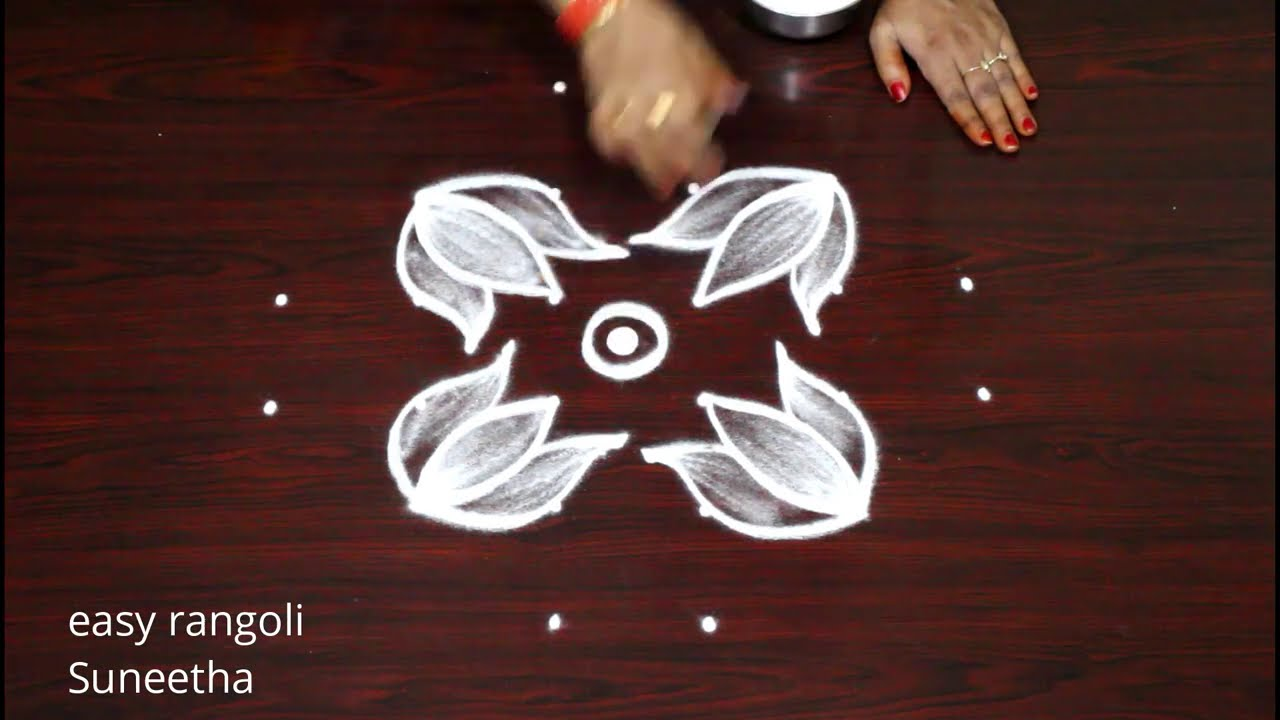 2 simple 6 dots rangoli muggulu by Suneetha || Friday lotus rangoli & kolam designs