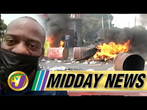 More Fiery Protests In Clarendon, Jamaica | Defiant George Wright | TVJ Midday News - June 14 2021