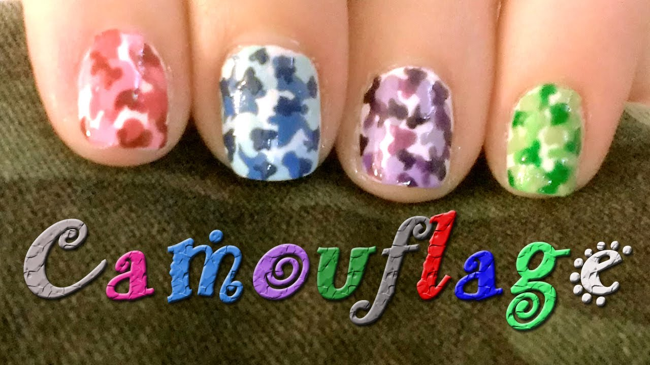 Camouflage Nail Art Design Colorful Camo Youtube