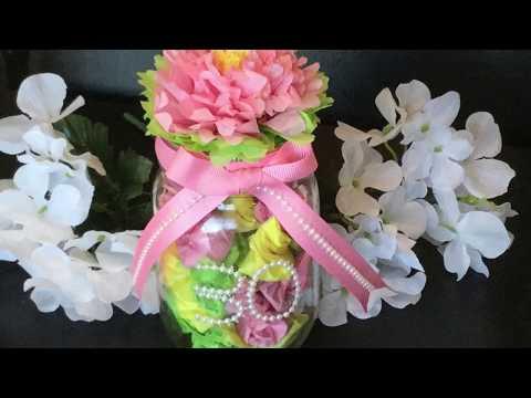 MASON JAR DIY - TISSUE PAPER FLOWER & GIFT IDEAS!