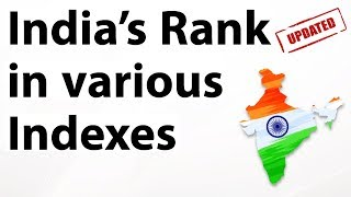 India's rank in various indexes 2018 (Updated & Latest) till December 2018 - Current affairs 2018