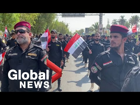 Symbolic funeral held in Baghdad for paramilitaries killed by US air raid