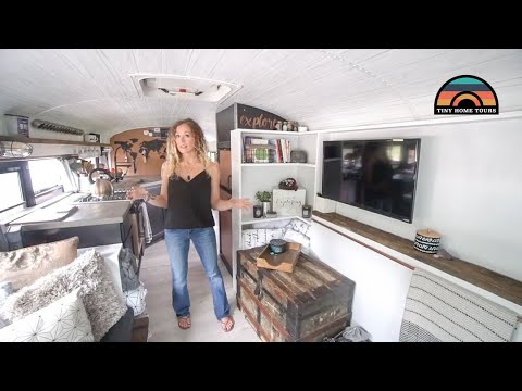 Couple Sells Their 3 Story House & Business To Live Simple In This School Bus Conversion