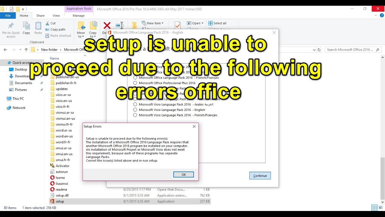 unable to install microsoft office professional plus 2016
