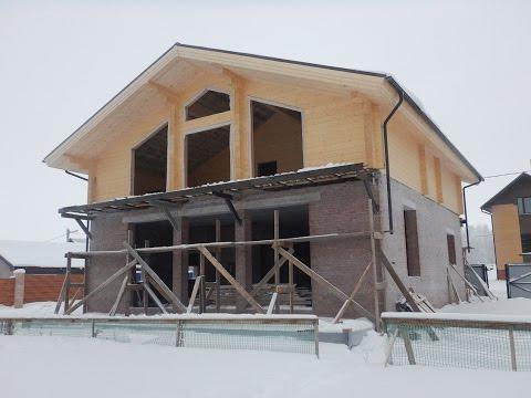 Комбинированный дом шале (клееный брус +кирпич). Дома +из клееного бруса. Строительство домов казань
