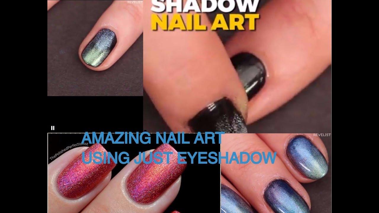 Eyeshadow Nail Art Tutorial || DIY Holographic Nails - YouTube
