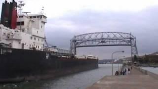Fantastic horn blast!  Canadian Transport to Duluth, MN. lift bridge double horn salute...