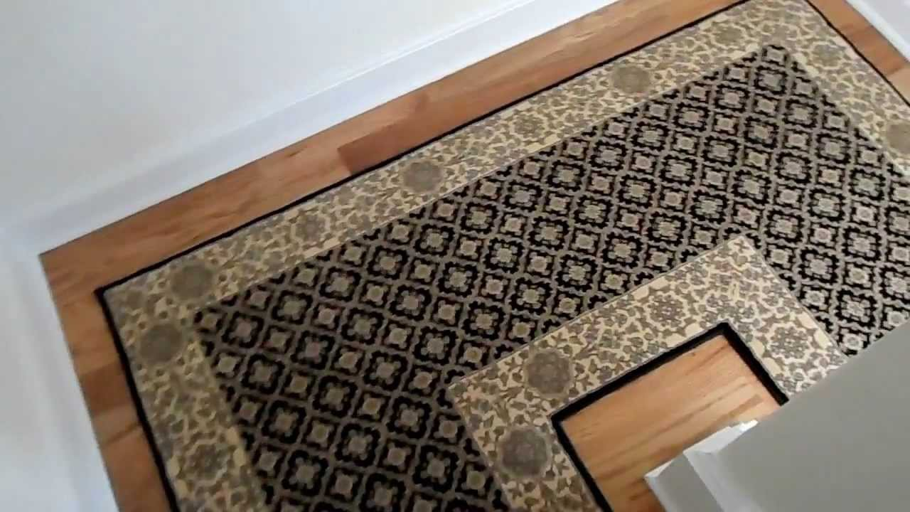 Custom Hallway And Landing Stair Runner Installation Youtube   Carpet Runners For Stairs And Landing   Carpet Hampton Style   Hallway   Stair Runner Matching Landing   Fitted   Farmhouse