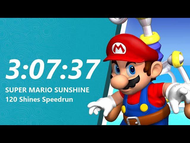 Super Mario Sunshine 120 Shines Speedrun in 3:07:37