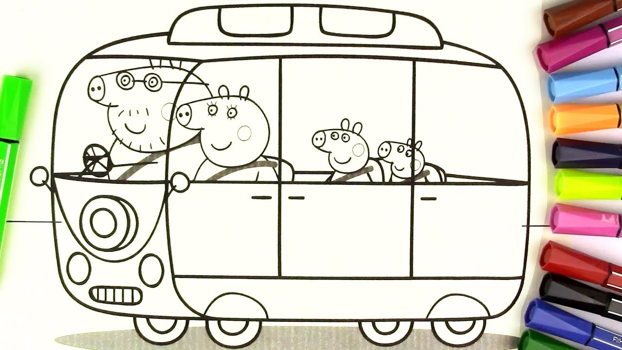 Peppa Pig Rainbow Camper Van Coloring Page How To Draw Peppa Pig Youtube