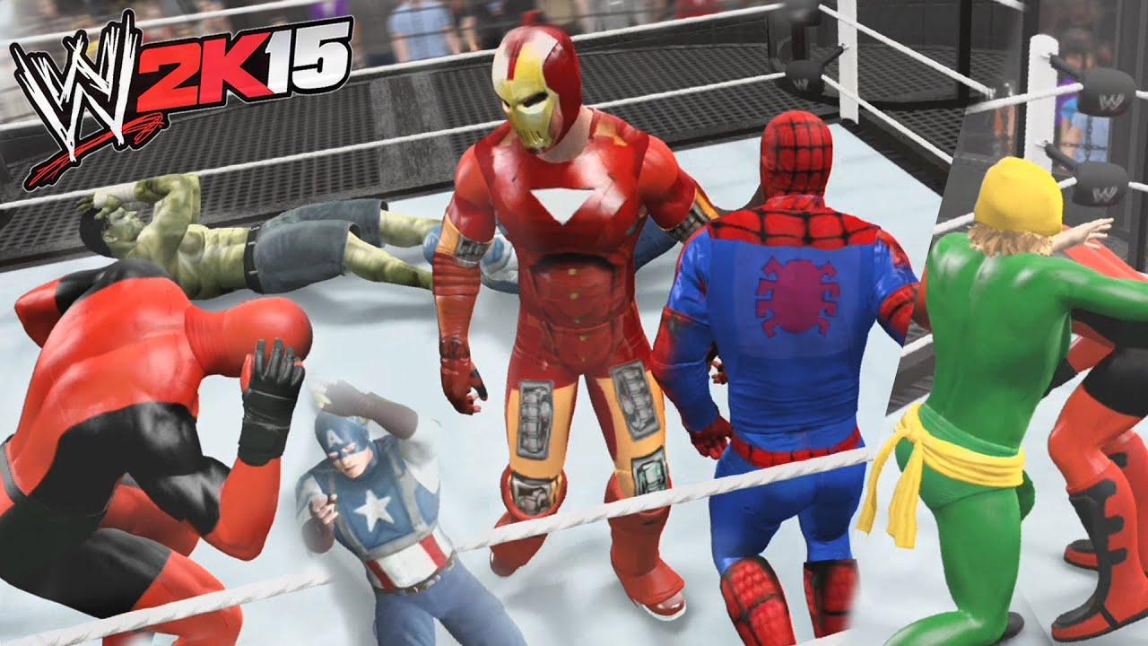 Wwe 2k15 Spiderman Vs Deadpool Vs Hulk Vs Captain