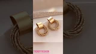 Gorgeous Beautiful Short Gold Earrings, Latest New Hottest Ladies Gold Earrings