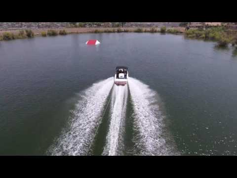Waterski Jumping in Canyon  Lake. View from the air