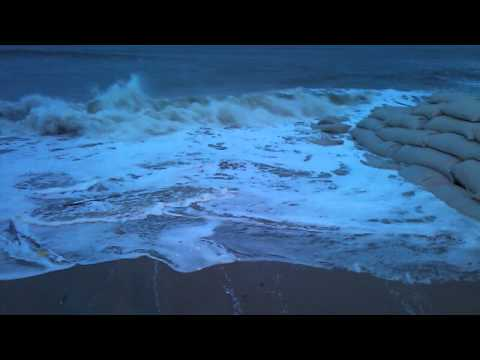 10-28-12 High Tide Topsail Reef Apartments in North Topsail Beach NC with Hurricane Sandy Offshore