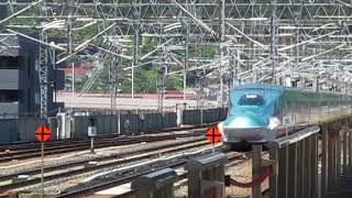 東北新幹線E5系はやぶさ16号+E6系こまち16号東京行福島駅高速通過!